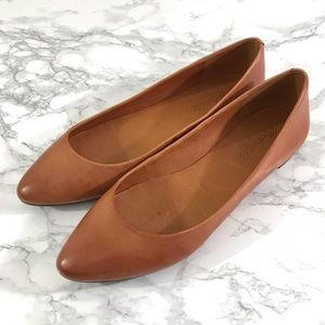 Madewell The Sidewalk Skimmer Flats Brown Leather
